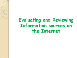 Evaluating and Reviewing sources on the Internet