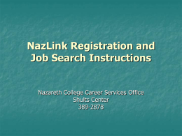 NazLink Registration and Work Study Job Search Instructions