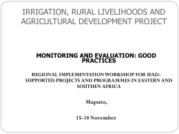 IRRIGATION, RURAL LIVELIHOODS AND AGICULTURAL …
