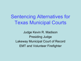 Sentencing Alternatives for Texas Municipal Courts