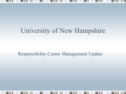 University of New Hampshire RCM 5 Year Review