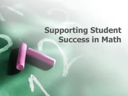 Navigating numeracy: Supporting Student Success in Math