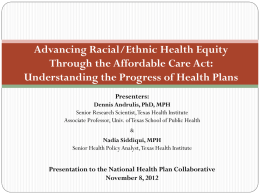 Advancing Racial/Ethnic Health Equity through the