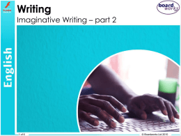 Imaginative Writing – part 2