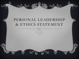 Personal leadership & ethics statement