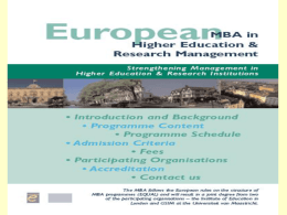 European MBA in Higher Education and Research Management