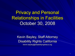 Privacy and Personal Relationships in Facilities October