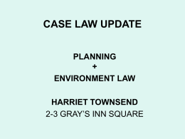 PLANNING LAW UPDATE - Cornerstone Barristers