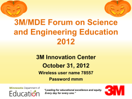 3M/MDE Forum on Science and Engineering Education 2012