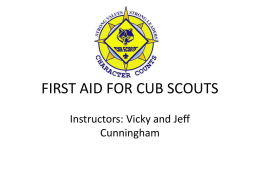 FIRST AID FOR CUB SCOUTS - Allegheny Highlands Training