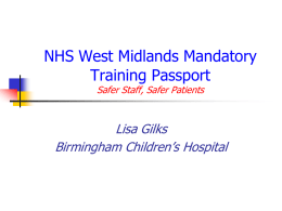 NHS West Midlands Mandatory Training Passport Safer Staff