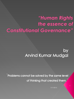 Human Rights – the essence of Constitutional Governance""