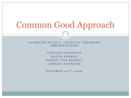 Common Good Approach - Moraine Park Technical College