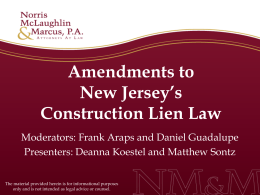 Amendments to New Jersey's Construction Lien Law
