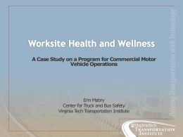 Case Study on a Worksite Health and Wellness (H&W) Program