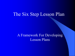 The Six Step Lesson Plan
