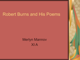 Robert Burns and His Poems