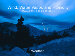 Wind, Water Vapor, and Humidity