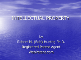INTELLECTUAL PROPERTY - Registered Patent Agent