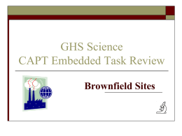 CONNECTICUT BROWNFIELDS - Greenwich Public Schools