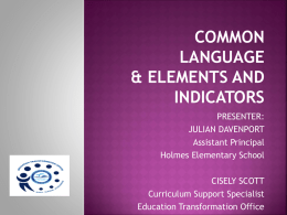 COMMON LANGUAGE& ELEMENTS AND INDICATORS