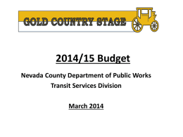 Gold Country Stage 2012/13 Budget