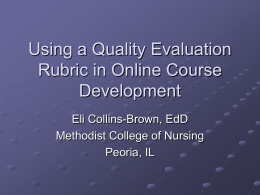 Using a Quality Evaluation Rubric in Online Course Development