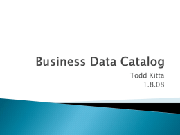 The Business Data Catalog