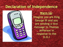 Declaration of Independence - Warren Hills Regional School
