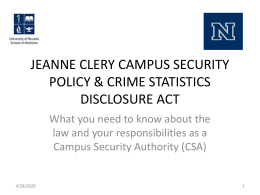 Jeanne Clery Campus Security Policy & Crime Statistics