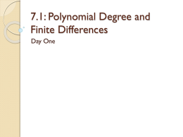 7.1: Polynomial Degree and Finite Differences