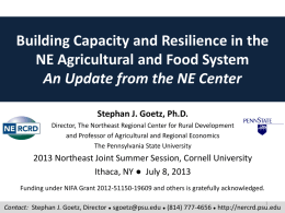 Building Capacity and Resilience in the NE Agricultural
