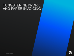 TUNGSTEN NETWORK AND PAPER INVOICING