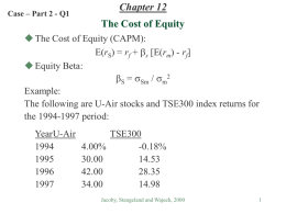 Chapter 12: Risk, Return, and Capital Budgeting