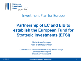 EIB Presentation to Committee of the Regions 2 March 2015