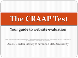 The CRAAP test - Asa H. Gordon Library