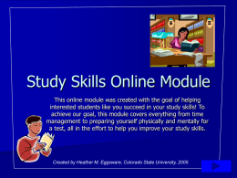Study Skills Online Module - Colorado State University