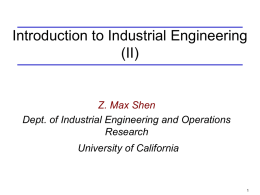 ISE 195 Lecture 1 - Berkeley Industrial Engineering and
