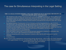 The case for Simultaneous Interpreting in the Legal Setting