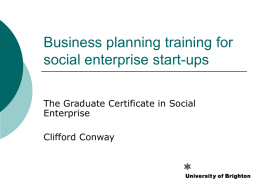 Business planning training for social enterprise start-ups