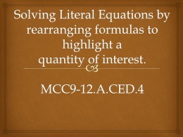 Solving Literal Equations - Troup 6