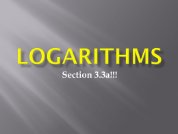 Logarithms - Northland Preparatory Academy
