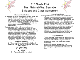 11th Grade ELA Miss Ray Syllabus and Class Agreement
