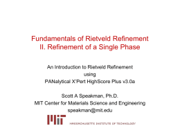 Refinement of a Single Phase