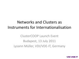 Networks and Clusters as Instruments for Internationalisation