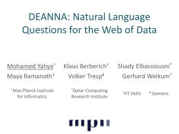 DEANNA: Natural Language Questions for the Web of Data
