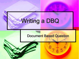 Writing a DBQ - Lower Moreland Township School District
