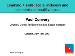 Skills and social inclusion