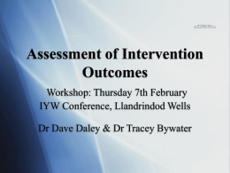 Assessment of intervention outcome