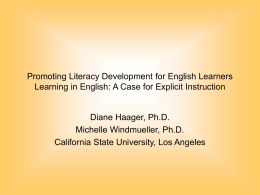 Promoting Literacy Development for English Learners